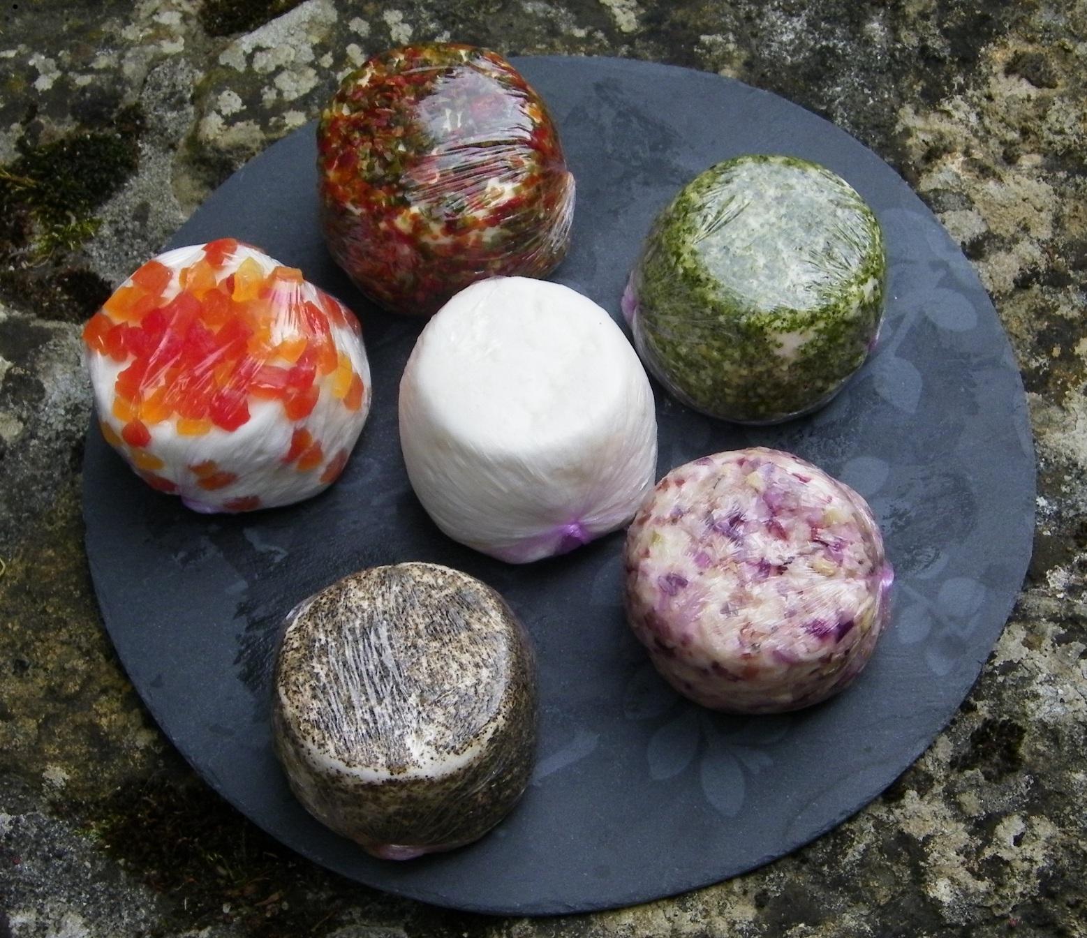 fromages frais nature et aromatisés (papaye, poivrons, ail et fines herbes, échalote et poivre)