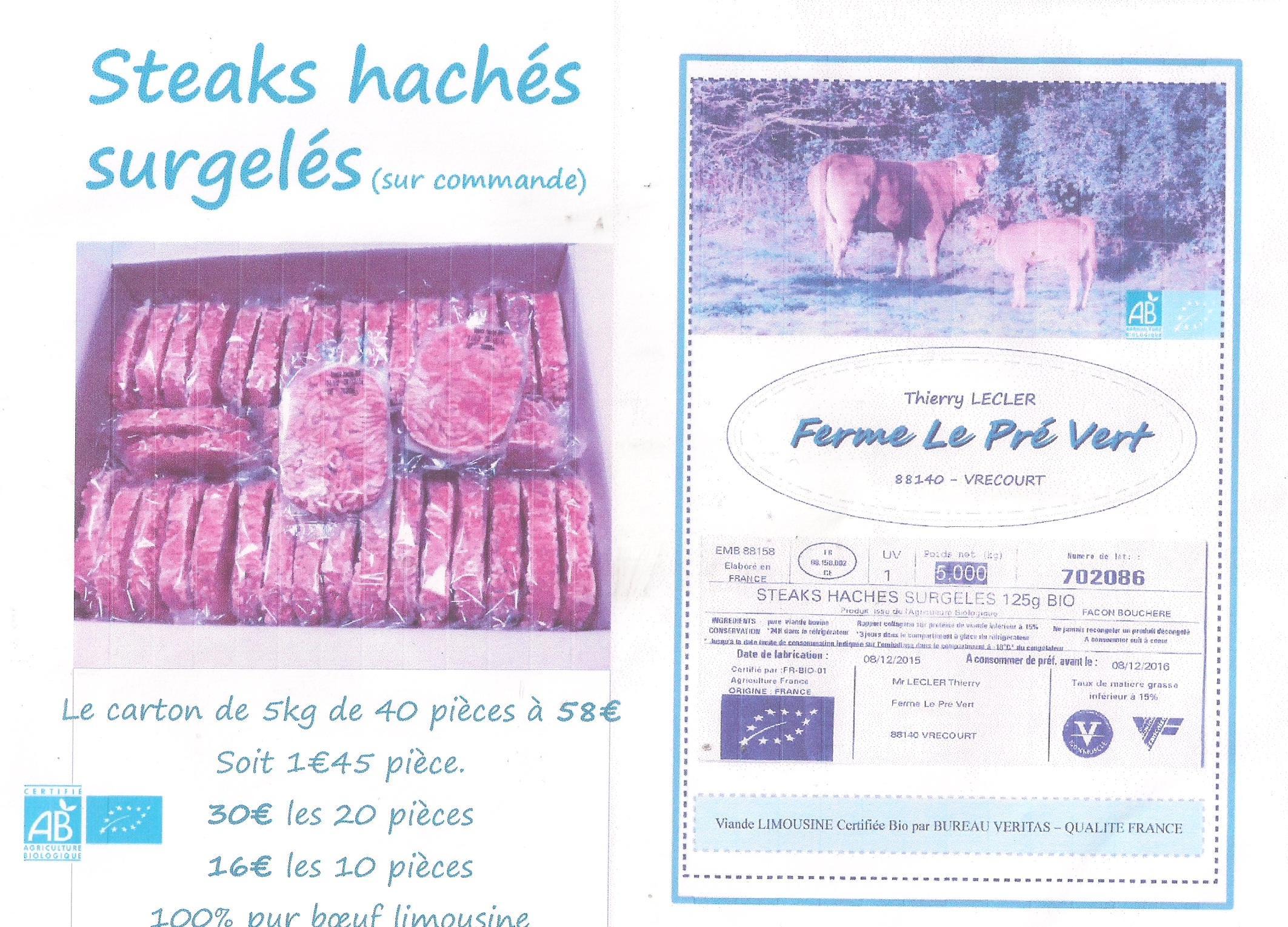 Steaks hachés surgelés limousins Bio