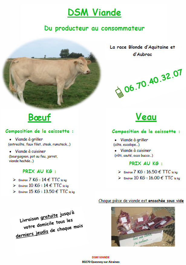 caissette de viande boeuf ( blonde d'aquitaine)