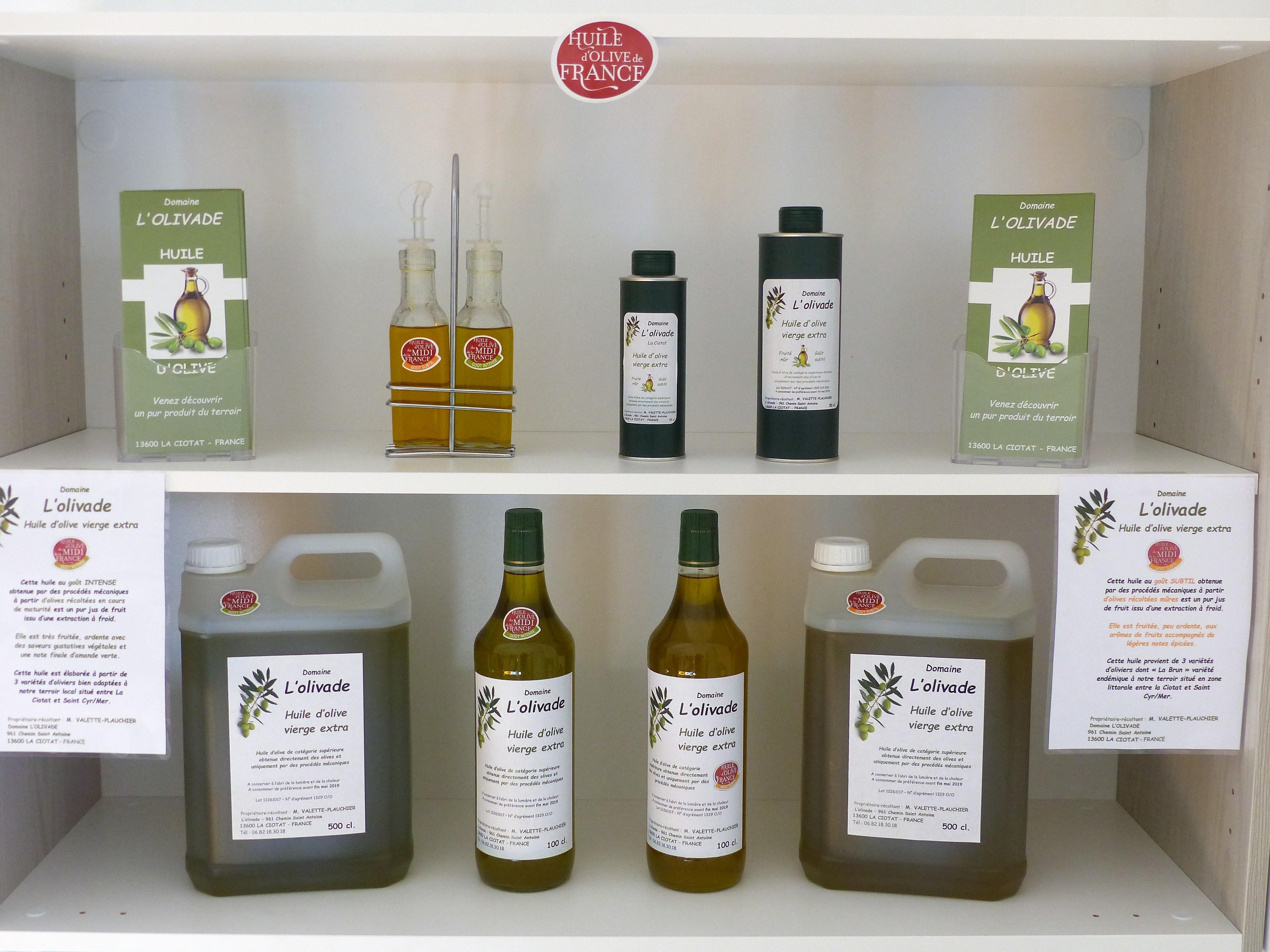 Nos différentes huiles d'olive