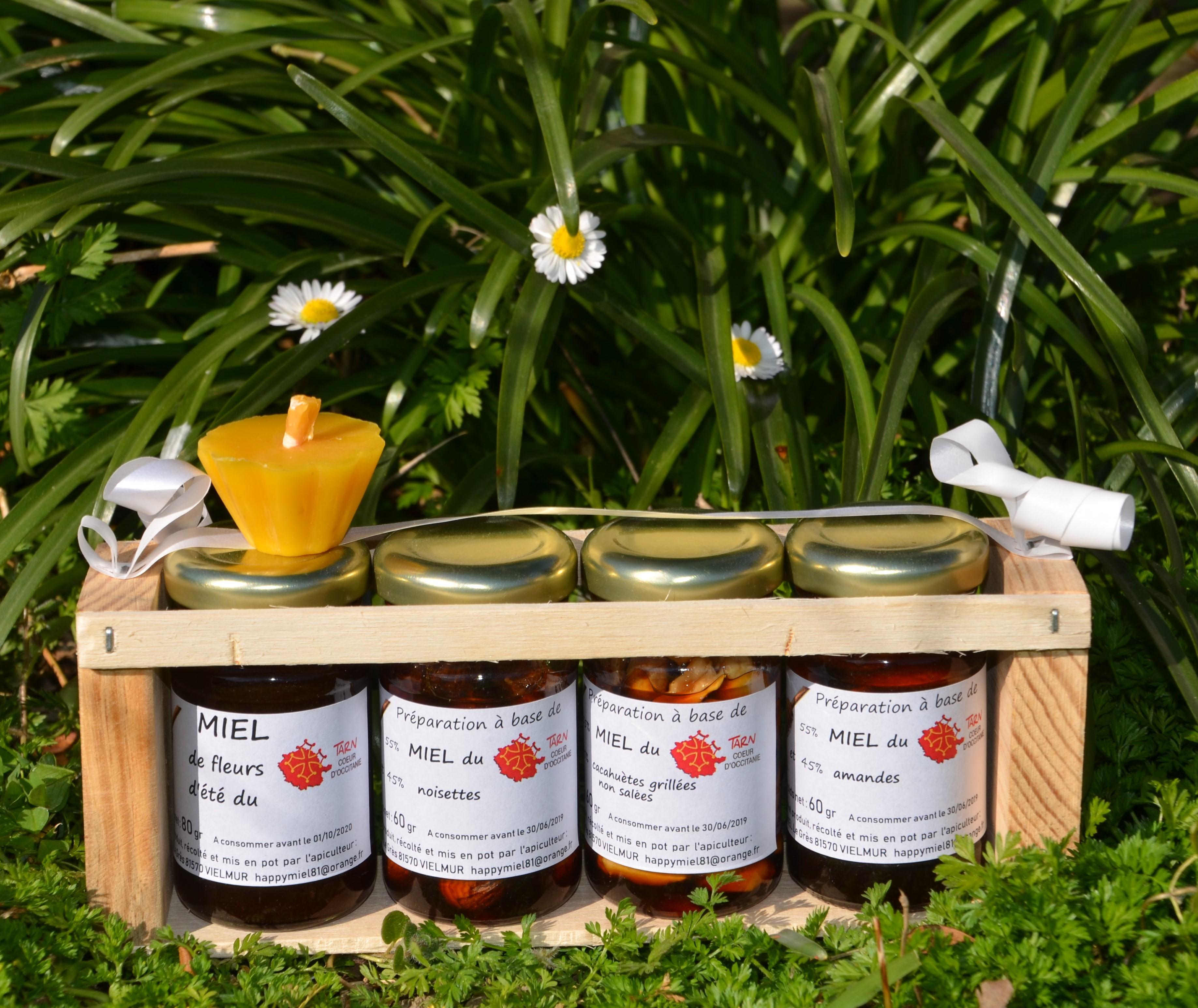 Assortiment de notre miel du Tarn avec noix + 1 bougie 100% cire jaune