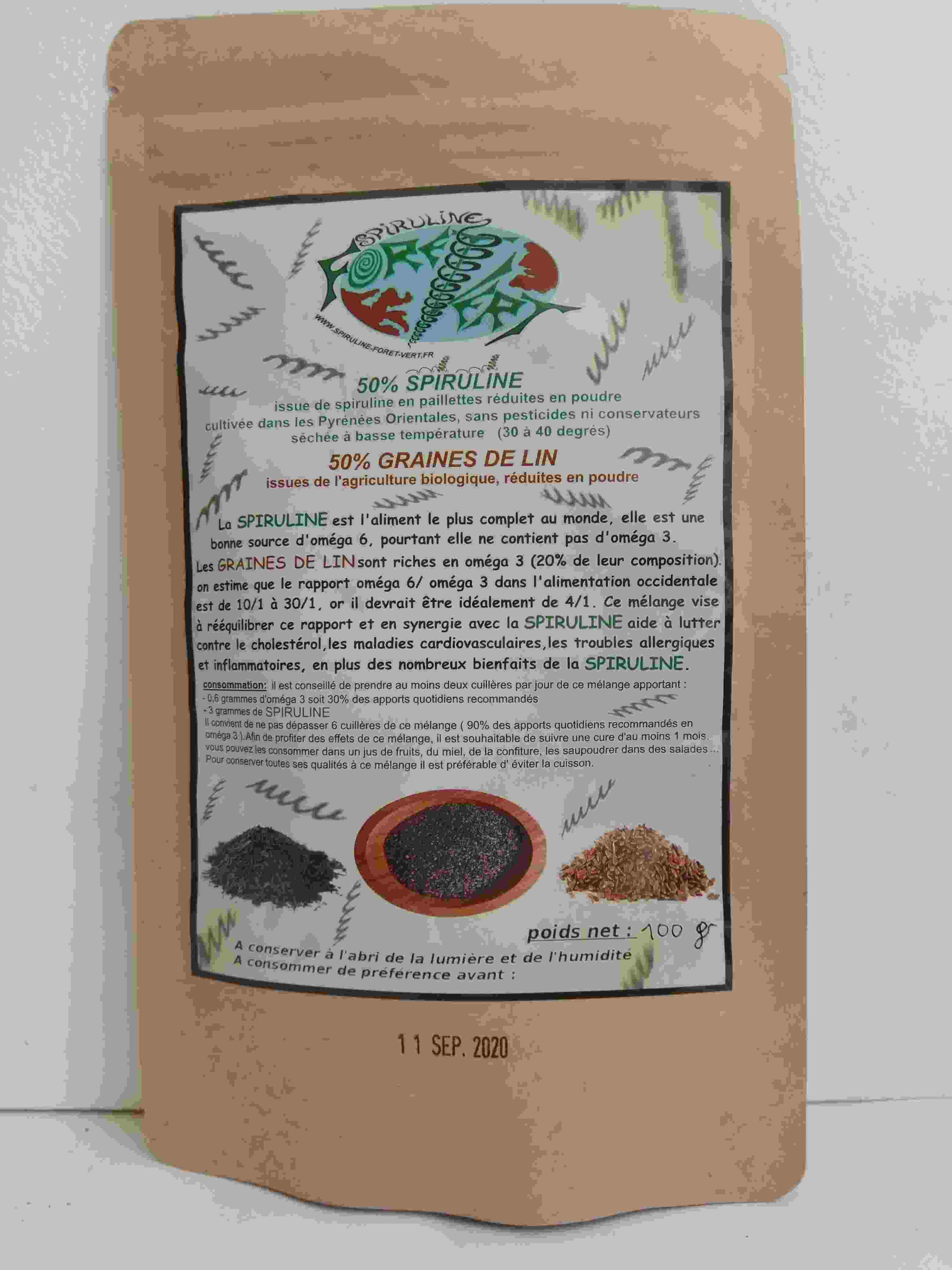 100 grammes de Spiruline et graines de Lin