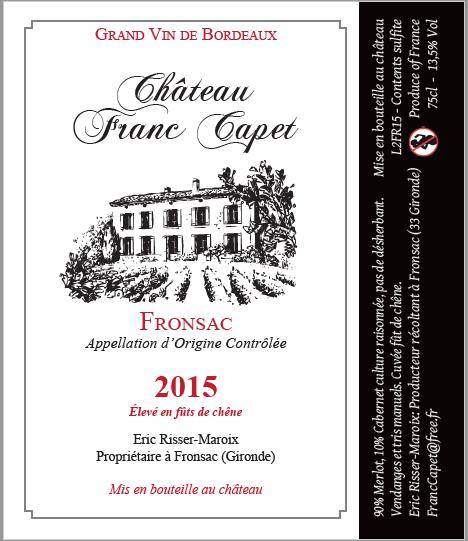 L2FR15 Fronsac fût de chêne 2015