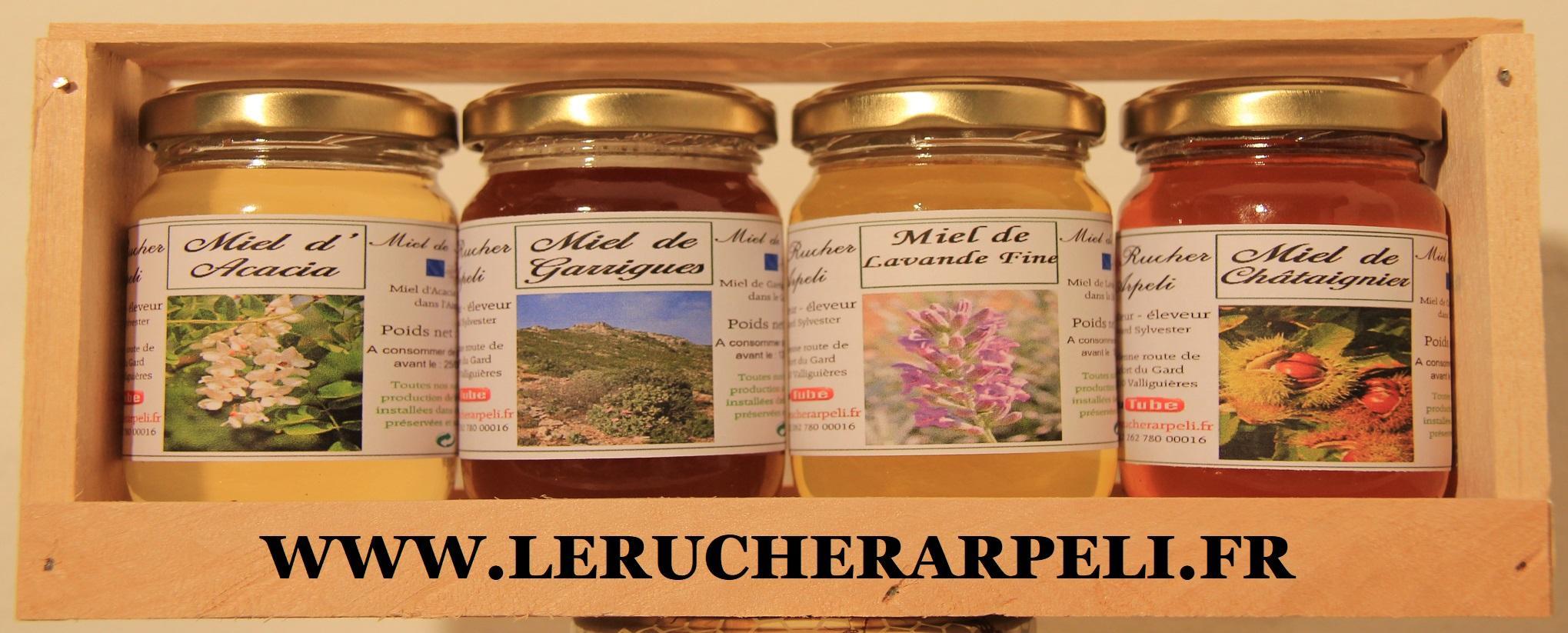 Coffret en bois de 4 pots de 125g de miel