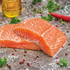 saumon label rouge élevé en Ecosse (Salmor salar)