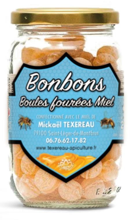 bonbons boule fourrées miel