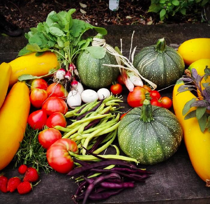 Paniers de légumes, fruits et aromatiques de saison